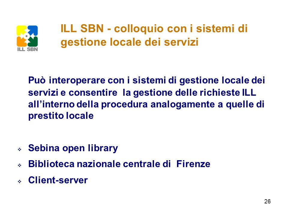 26 Può interoperare con i sistemi di gestione locale dei servizi e consentire la gestione delle richieste ILL allinterno della procedura analogamente