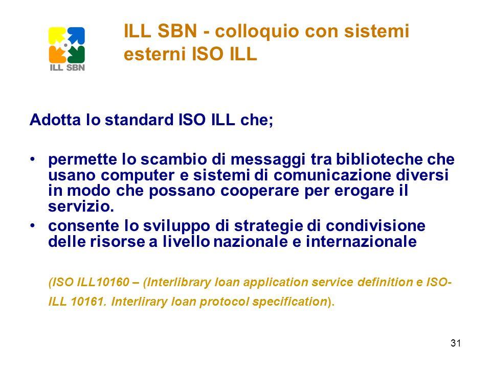 31 Adotta lo standard ISO ILL che; permette lo scambio di messaggi tra biblioteche che usano computer e sistemi di comunicazione diversi in modo che p