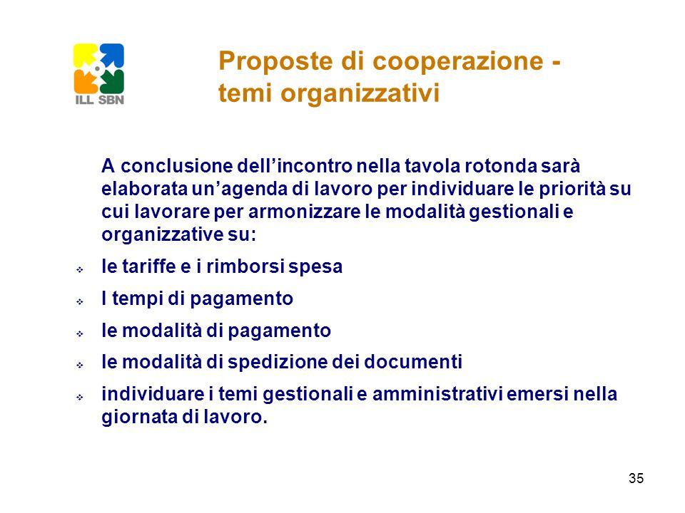 35 Proposte di cooperazione - temi organizzativi A conclusione dellincontro nella tavola rotonda sarà elaborata unagenda di lavoro per individuare le