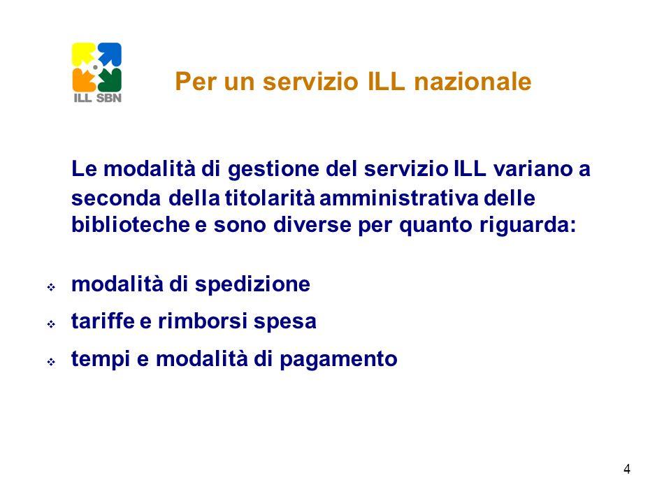 4 Le modalità di gestione del servizio ILL variano a seconda della titolarità amministrativa delle biblioteche e sono diverse per quanto riguarda: mod