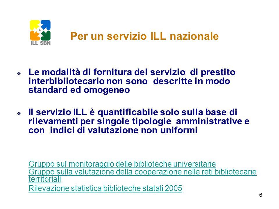 6 Le modalità di fornitura del servizio di prestito interbibliotecario non sono descritte in modo standard ed omogeneo Il servizio ILL è quantificabil