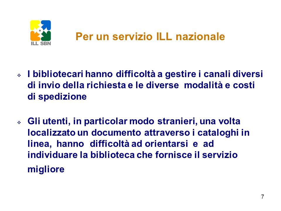 8 non è possibile avere un quadro complessivo della situazione del servizio ILL fornito dalle biblioteche italiane non sono possibili statistiche nazionali sullefficienza del servizio ILL in Italia che consentano confronti a livello internazionale Per un servizio ILL nazionale