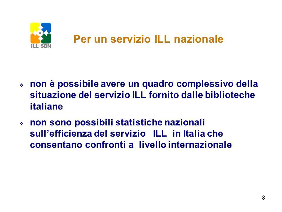 8 non è possibile avere un quadro complessivo della situazione del servizio ILL fornito dalle biblioteche italiane non sono possibili statistiche nazi