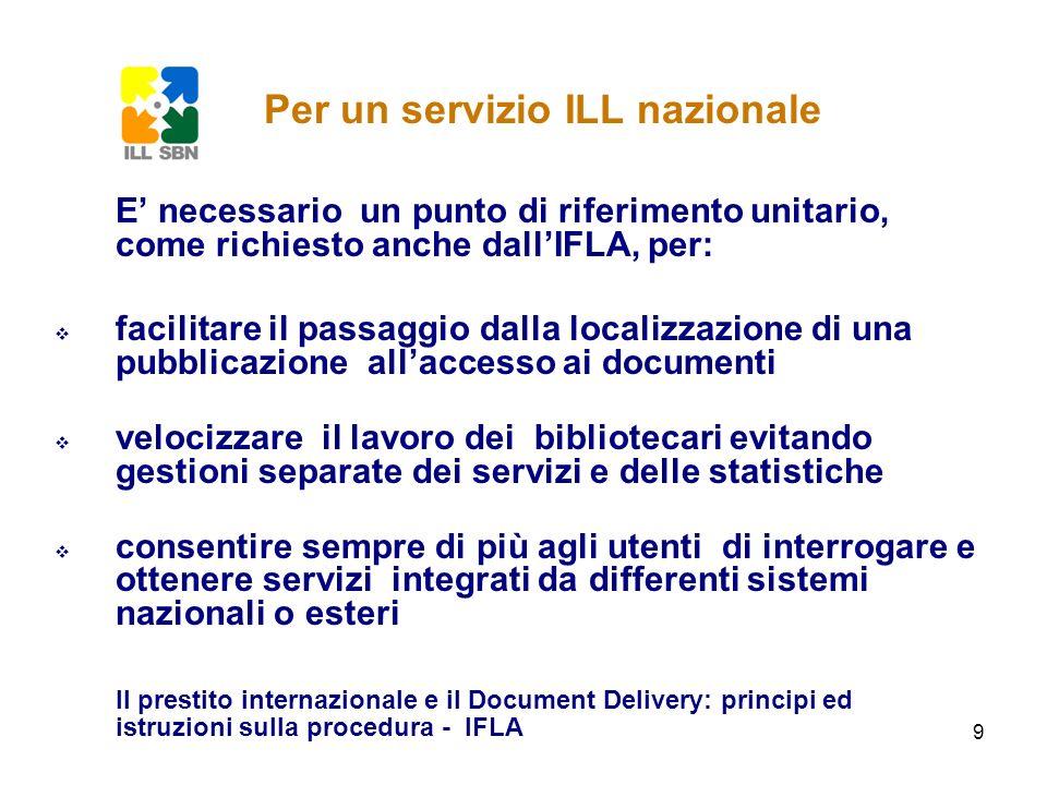 10 Per raggiungere questo obiettivo è necessario un servizio cooperativo che si integri con le realtà esistenti e, rispettando lautonomia delle scelte locali, garantisca unomogeneità di dati su: modalità di colloquio con i partner statistiche descrizione dei servizi forniti Per un servizio ILL nazionale
