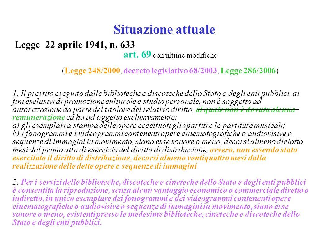 Situazione attuale Legge 22 aprile 1941, n. 633 art.