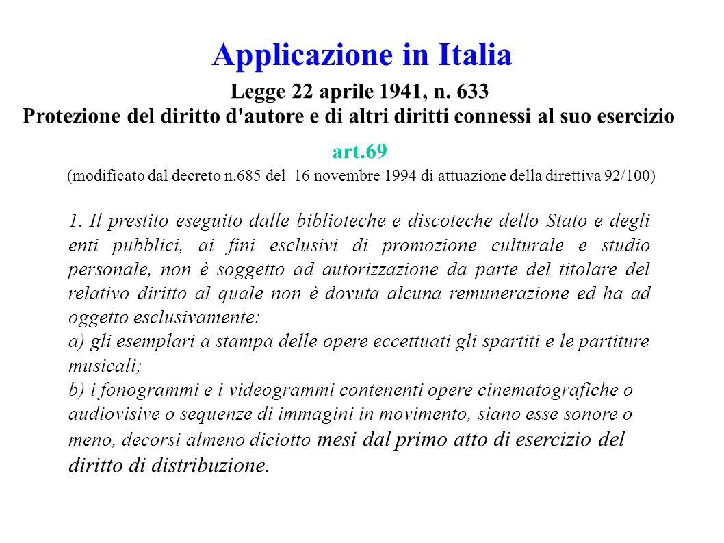 Applicazione in Italia 1.