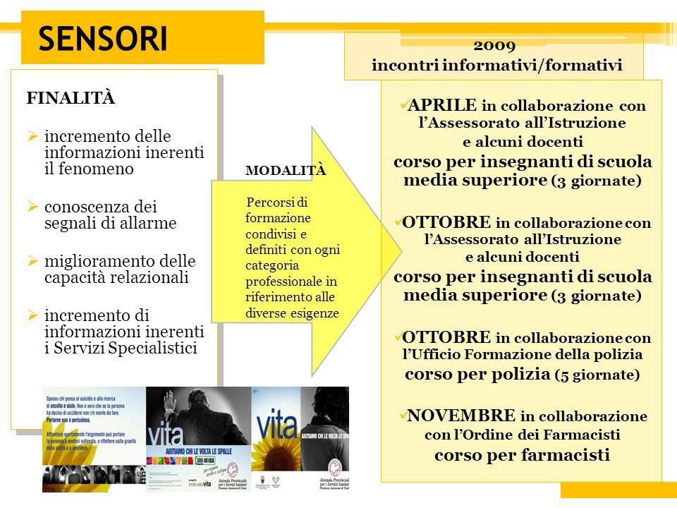 SENSORI 2009 incontri informativi/formativi FINALITÀ incremento delle informazioni inerenti il fenomeno conoscenza dei segnali di allarme migliorament
