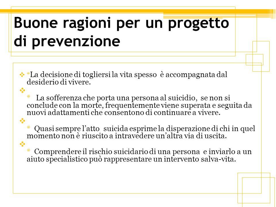 Programmi di prevenzione LOrganizzazione Mondiale della Sanità (OMS) sostiene che i programmi di prevenzione del suicidio devono rispecchiare le caratteristiche dei singoli Paesi, tenendo conto delle diverse realtà sociali, culturali e sanitarie.