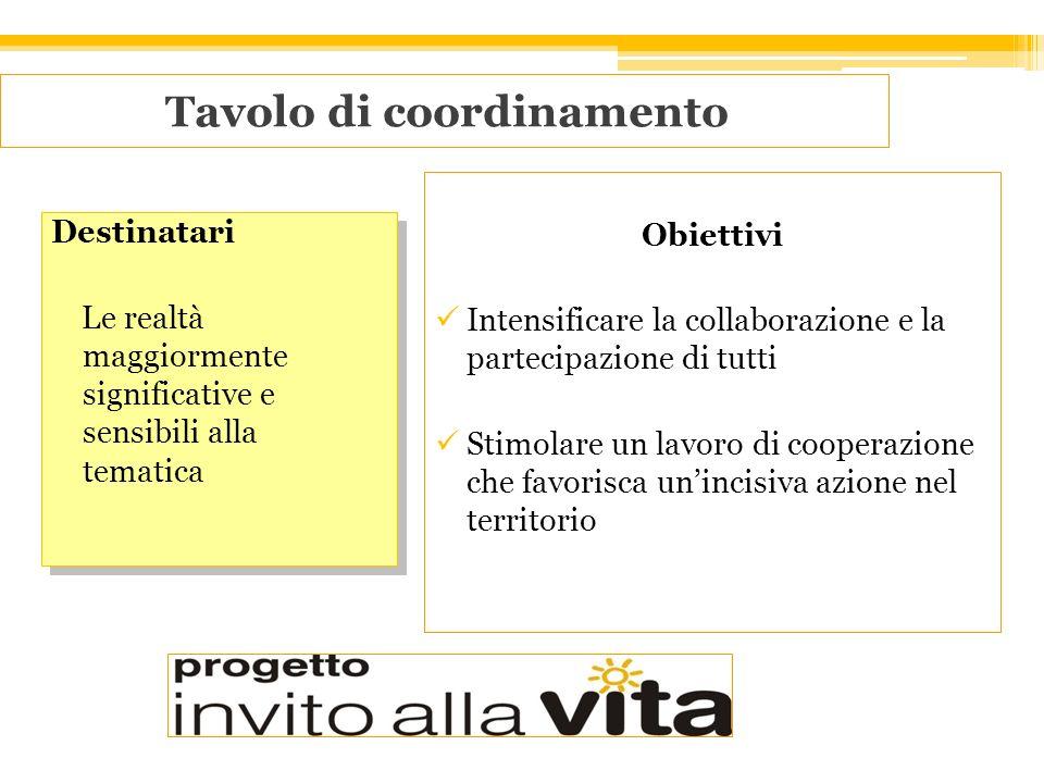 Tavolo di coordinamento Destinatari Le realtà maggiormente significative e sensibili alla tematica Destinatari Le realtà maggiormente significative e