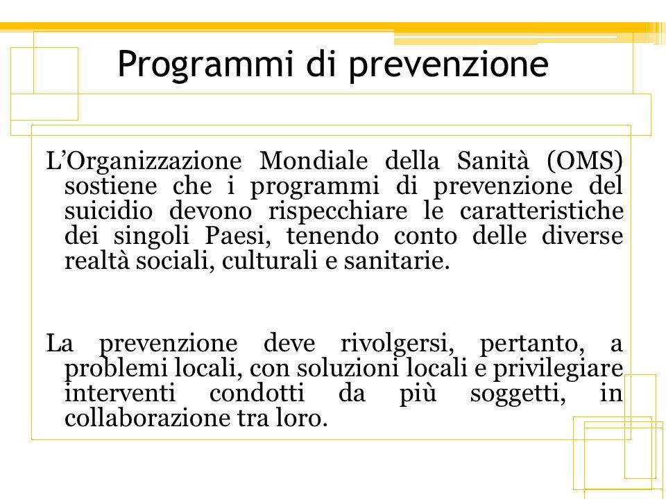 Programmi di prevenzione LOrganizzazione Mondiale della Sanità (OMS) sostiene che i programmi di prevenzione del suicidio devono rispecchiare le carat