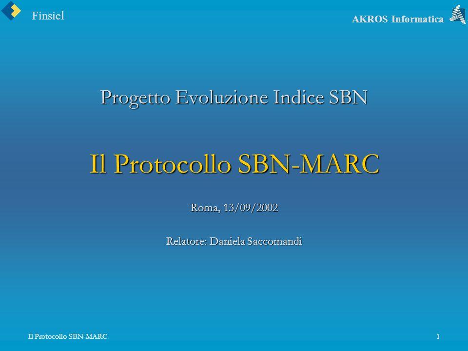 Finsiel AKROS Informatica Il Protocollo SBN-MARC1 Progetto Evoluzione Indice SBN Il Protocollo SBN-MARC Roma, 13/09/2002 Relatore: Daniela Saccomandi
