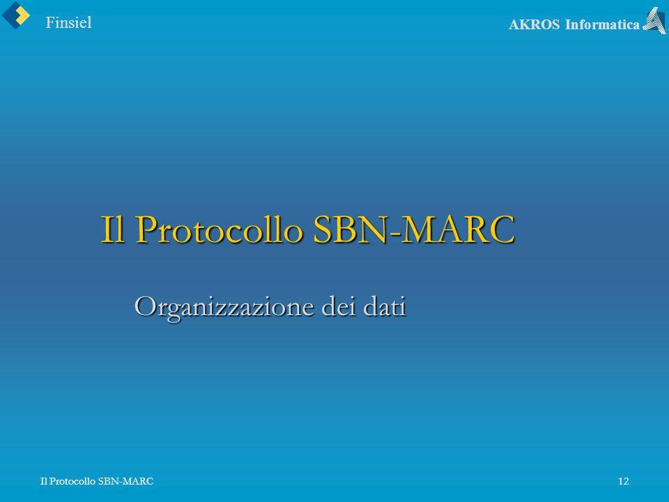Finsiel AKROS Informatica Il Protocollo SBN-MARC12 Il Protocollo SBN-MARC Organizzazione dei dati