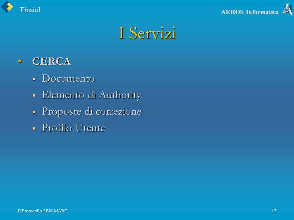 Finsiel AKROS Informatica Il Protocollo SBN-MARC17 I Servizi CERCA CERCA Documento Documento Elemento di Authority Elemento di Authority Proposte di correzione Proposte di correzione Profilo Utente Profilo Utente