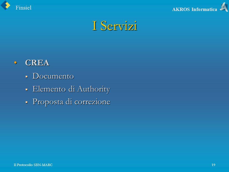 Finsiel AKROS Informatica Il Protocollo SBN-MARC19 I Servizi CREA CREA Documento Documento Elemento di Authority Elemento di Authority Proposta di correzione Proposta di correzione