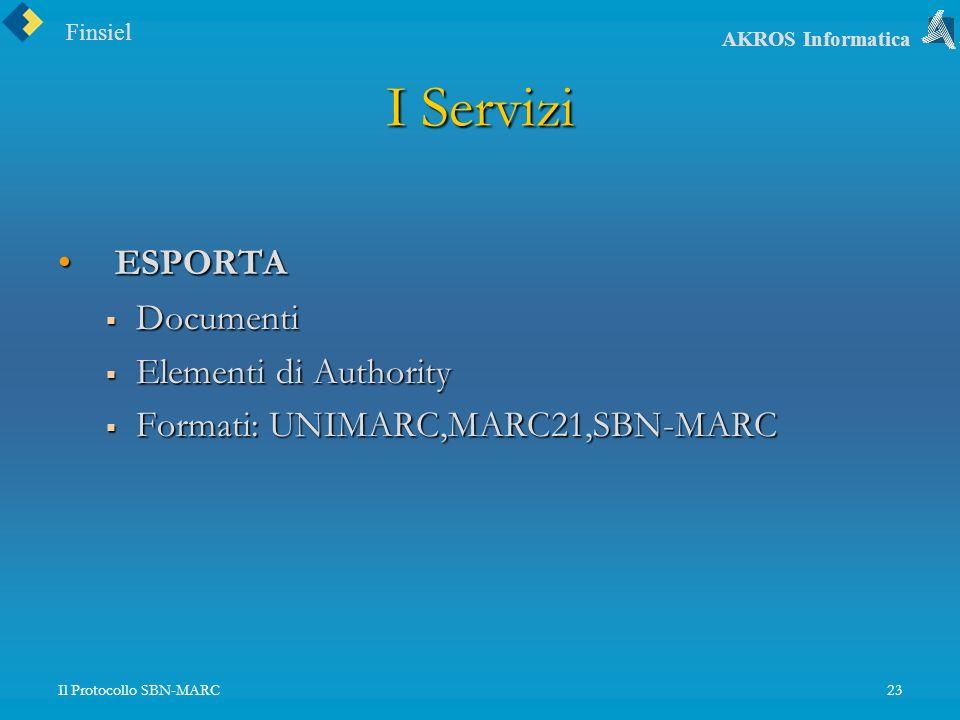 Finsiel AKROS Informatica Il Protocollo SBN-MARC23 I Servizi ESPORTA ESPORTA Documenti Documenti Elementi di Authority Elementi di Authority Formati: UNIMARC,MARC21,SBN-MARC Formati: UNIMARC,MARC21,SBN-MARC