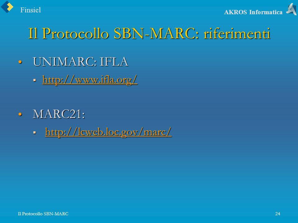 Finsiel AKROS Informatica Il Protocollo SBN-MARC24 Il Protocollo SBN-MARC: riferimenti UNIMARC: IFLA UNIMARC: IFLA http://www.ifla.org/ http://www.ifla.org/ http://www.ifla.org/ MARC21: MARC21: http://lcweb.loc.gov/marc/ http://lcweb.loc.gov/marc/http://lcweb.loc.gov/marc/