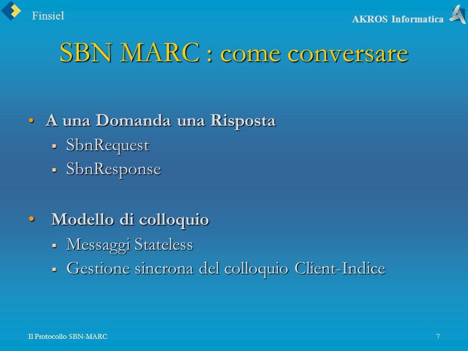 Finsiel AKROS Informatica Il Protocollo SBN-MARC7 SBN MARC : come conversare A una Domanda una Risposta A una Domanda una Risposta SbnRequest SbnRequest SbnResponse SbnResponse Modello di colloquio Modello di colloquio Messaggi Stateless Messaggi Stateless Gestione sincrona del colloquio Client-Indice Gestione sincrona del colloquio Client-Indice