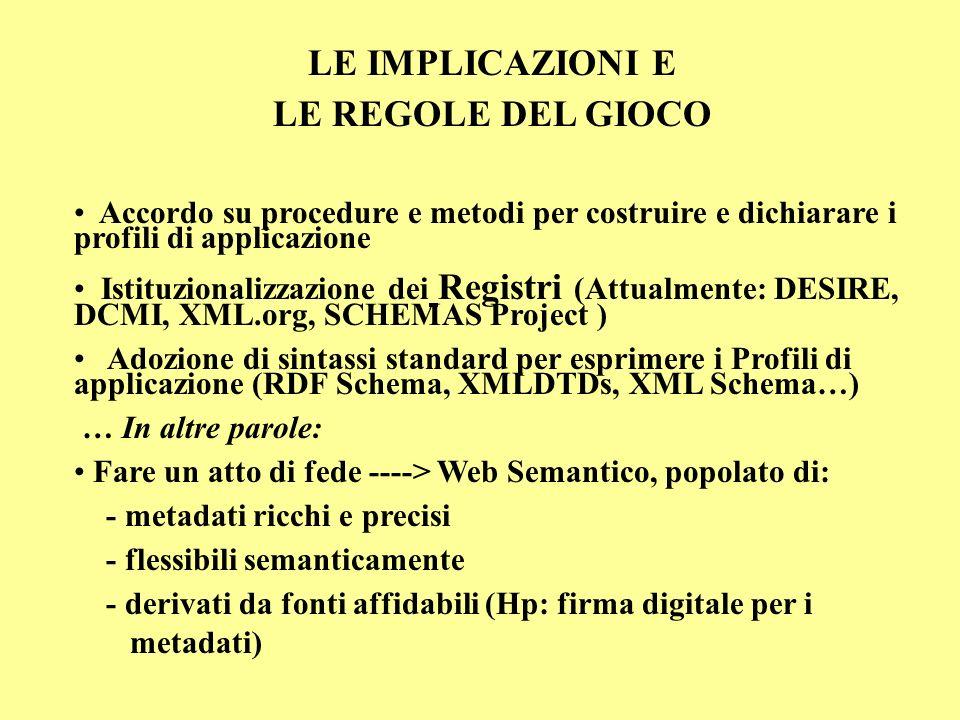 LE IMPLICAZIONI E LE REGOLE DEL GIOCO Accordo su procedure e metodi per costruire e dichiarare i profili di applicazione Istituzionalizzazione dei Registri (Attualmente: DESIRE, DCMI, XML.org, SCHEMAS Project ) Adozione di sintassi standard per esprimere i Profili di applicazione (RDF Schema, XMLDTDs, XML Schema…) … In altre parole: Fare un atto di fede ----> Web Semantico, popolato di: - metadati ricchi e precisi - flessibili semanticamente - derivati da fonti affidabili (Hp: firma digitale per i metadati)