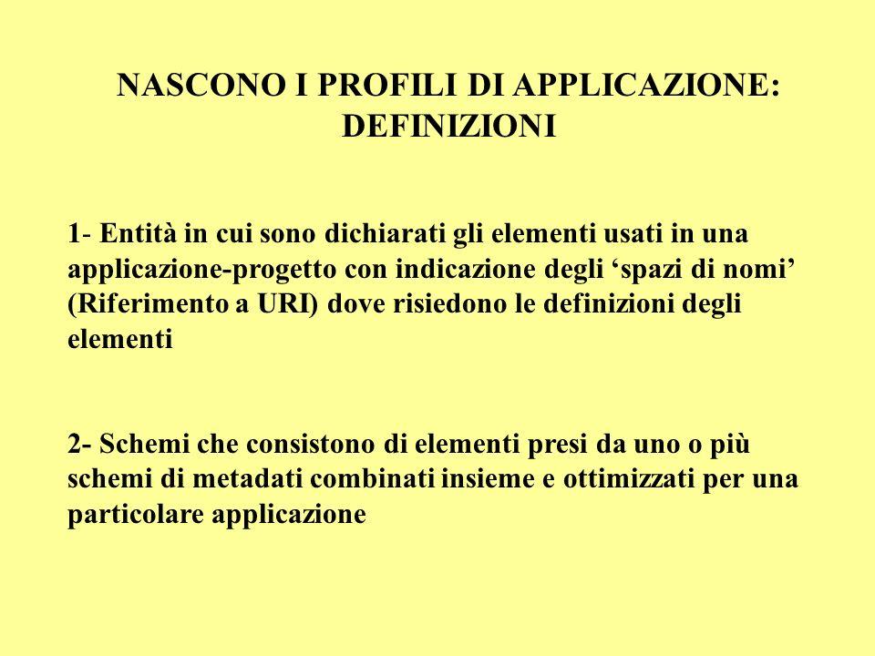 NASCONO I PROFILI DI APPLICAZIONE: DEFINIZIONI 1- Entità in cui sono dichiarati gli elementi usati in una applicazione-progetto con indicazione degli