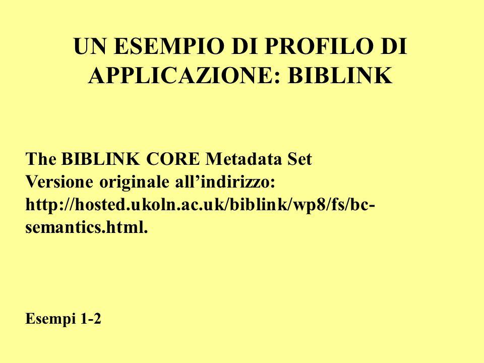 UN ESEMPIO DI PROFILO DI APPLICAZIONE: BIBLINK The BIBLINK CORE Metadata Set Versione originale allindirizzo: http://hosted.ukoln.ac.uk/biblink/wp8/fs/bc- semantics.html.