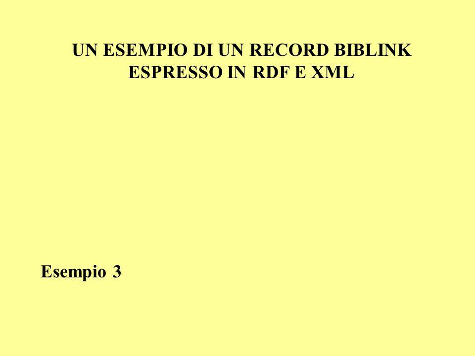 UN ESEMPIO DI UN RECORD BIBLINK ESPRESSO IN RDF E XML Esempio 3