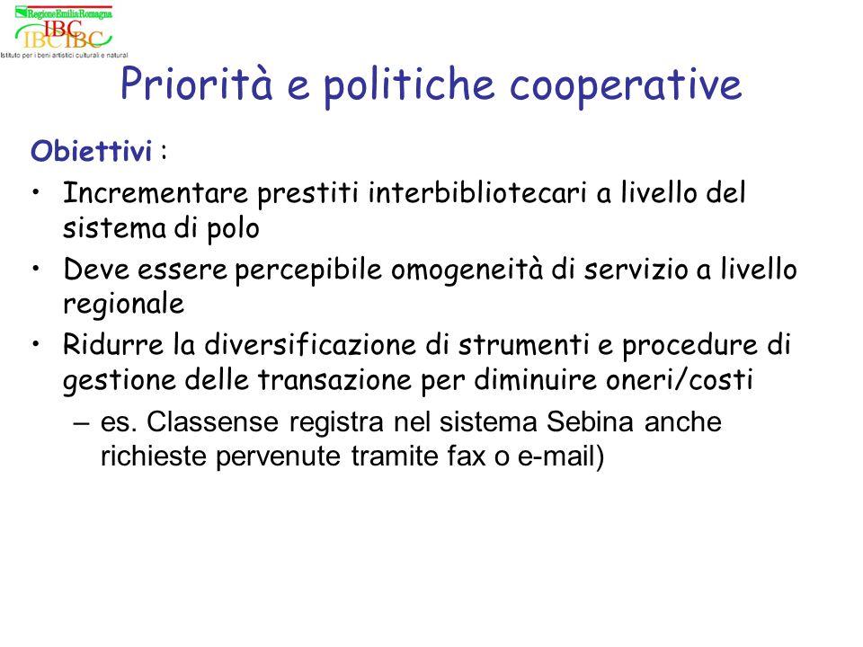 Priorità e politiche cooperative Obiettivi : Incrementare prestiti interbibliotecari a livello del sistema di polo Deve essere percepibile omogeneità