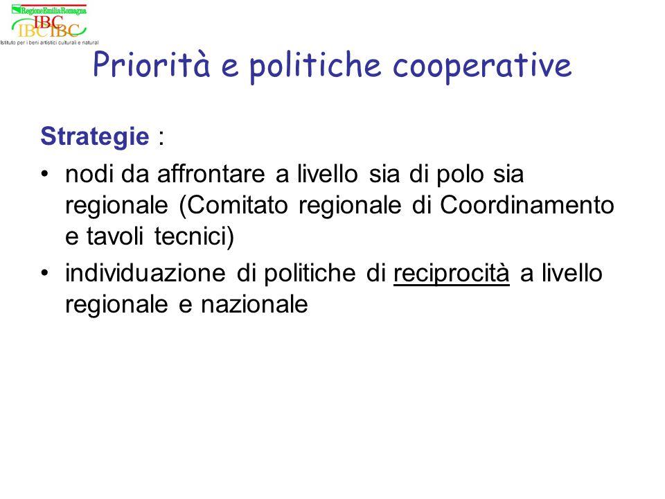 Priorità e politiche cooperative Strategie : nodi da affrontare a livello sia di polo sia regionale (Comitato regionale di Coordinamento e tavoli tecnici) individuazione di politiche di reciprocità a livello regionale e nazionale