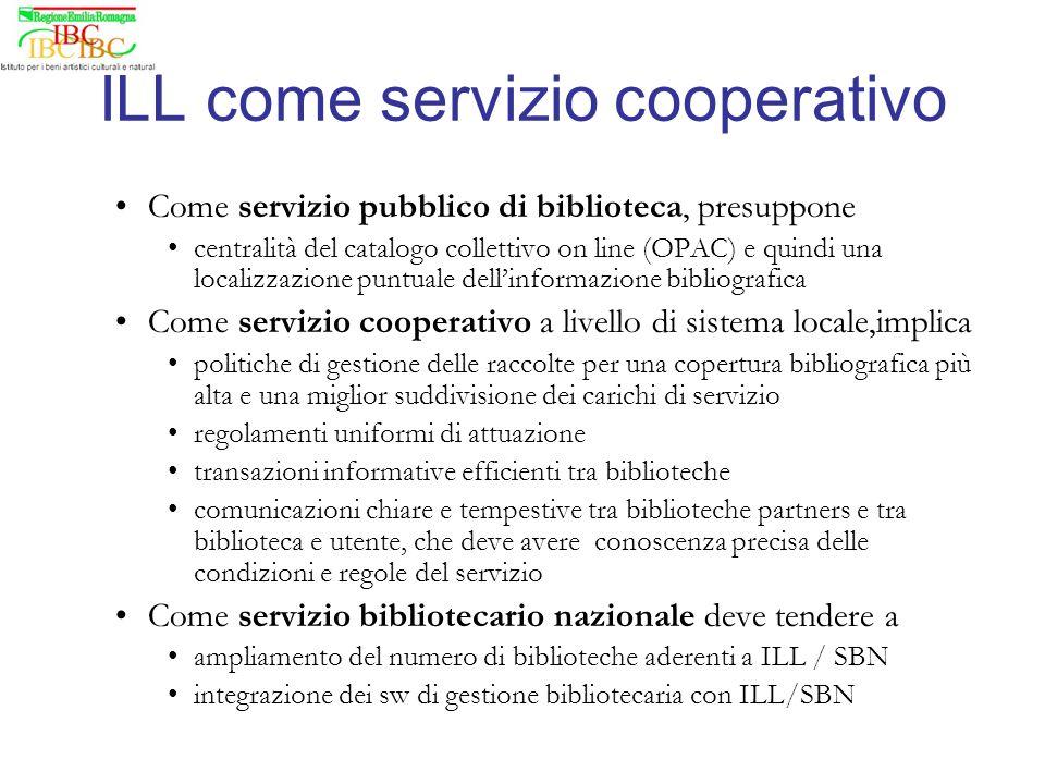 Come servizio pubblico di biblioteca, presuppone centralità del catalogo collettivo on line (OPAC) e quindi una localizzazione puntuale dellinformazio