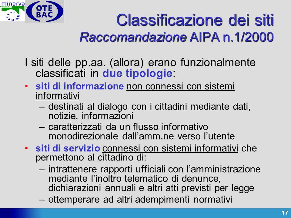17 Classificazione dei siti Raccomandazione AIPA n.1/2000 I siti delle pp.aa. (allora) erano funzionalmente classificati in due tipologie: siti di inf