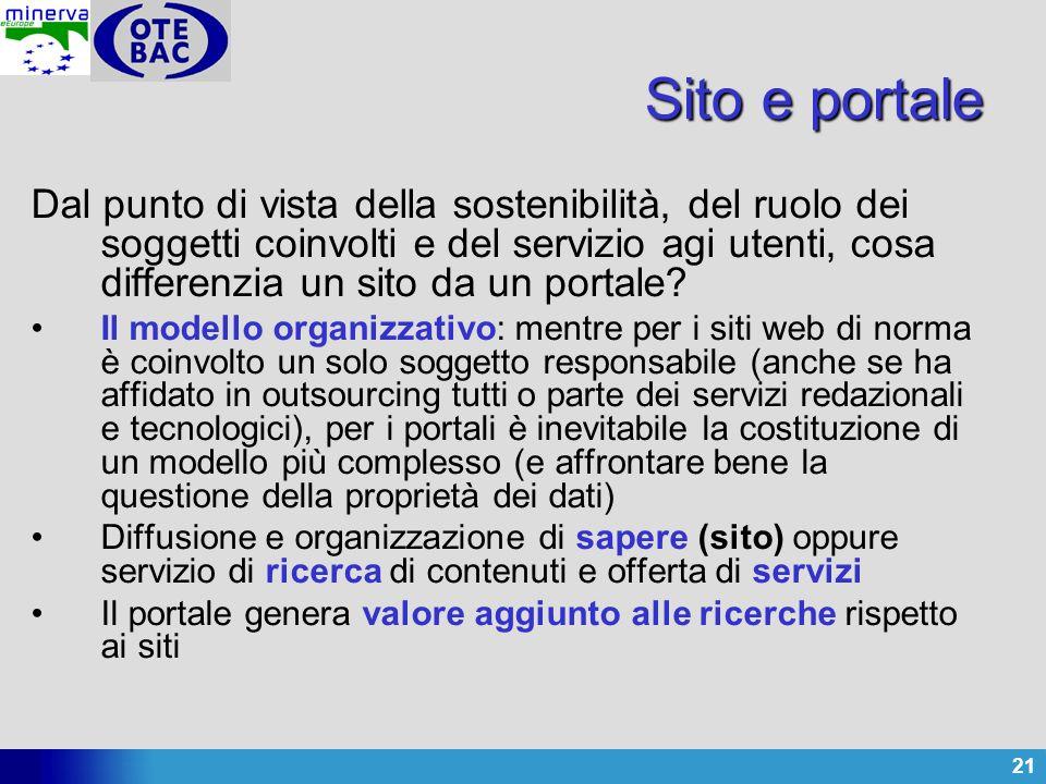 21 Sito e portale Dal punto di vista della sostenibilità, del ruolo dei soggetti coinvolti e del servizio agi utenti, cosa differenzia un sito da un p