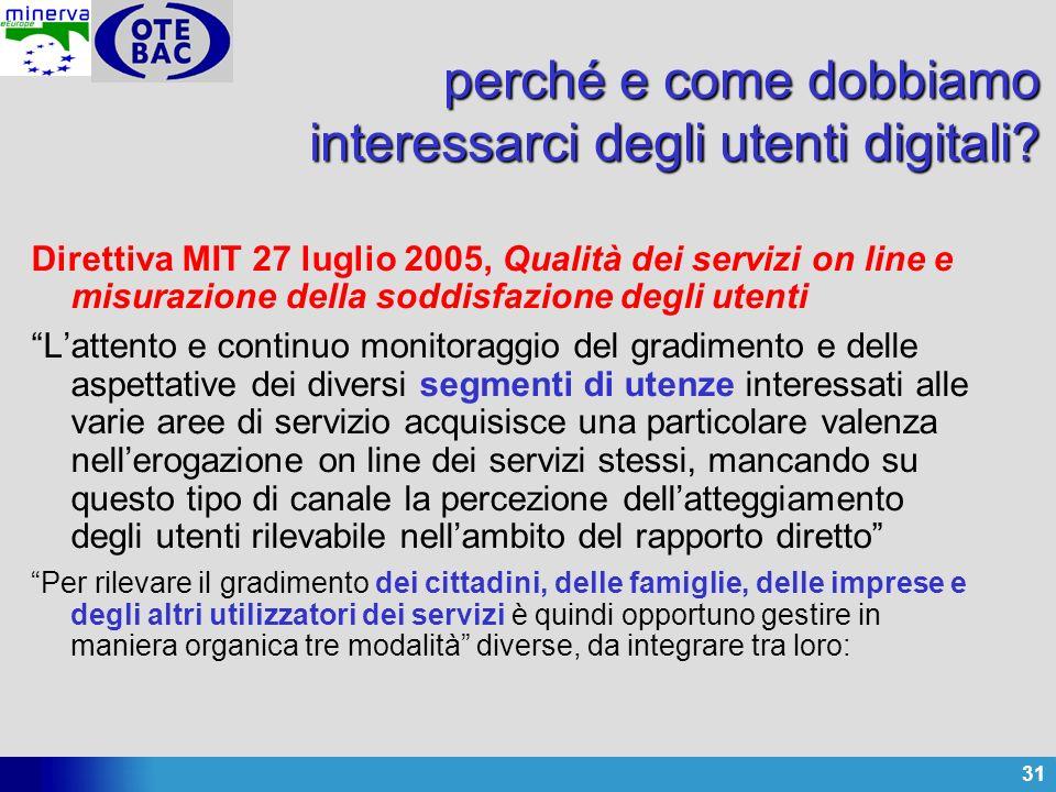 31 perché e come dobbiamo interessarci degli utenti digitali? Direttiva MIT 27 luglio 2005, Qualità dei servizi on line e misurazione della soddisfazi
