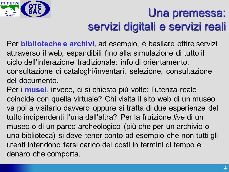 4 Una premessa: servizi digitali e servizi reali Per biblioteche e archivi, ad esempio, è basilare offire servizi attraverso il web, espandibili fino