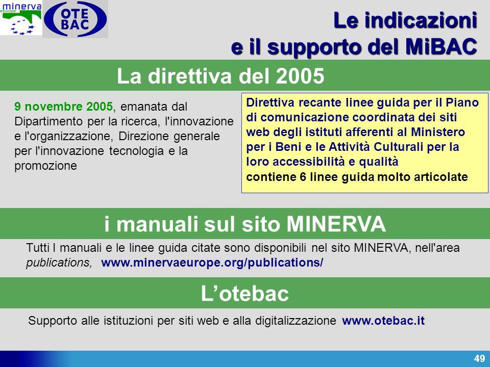 49 Le indicazioni e il supporto del MiBAC 9 novembre 2005, emanata dal Dipartimento per la ricerca, l'innovazione e l'organizzazione, Direzione genera