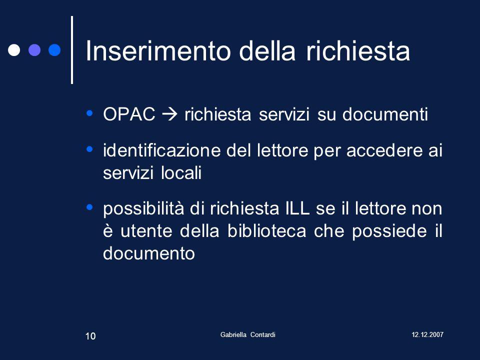 12.12.2007Gabriella Contardi 10 Inserimento della richiesta OPAC richiesta servizi su documenti identificazione del lettore per accedere ai servizi locali possibilità di richiesta ILL se il lettore non è utente della biblioteca che possiede il documento