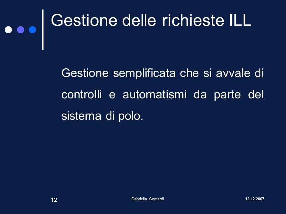 12.12.2007Gabriella Contardi 12 Gestione delle richieste ILL Gestione semplificata che si avvale di controlli e automatismi da parte del sistema di polo.