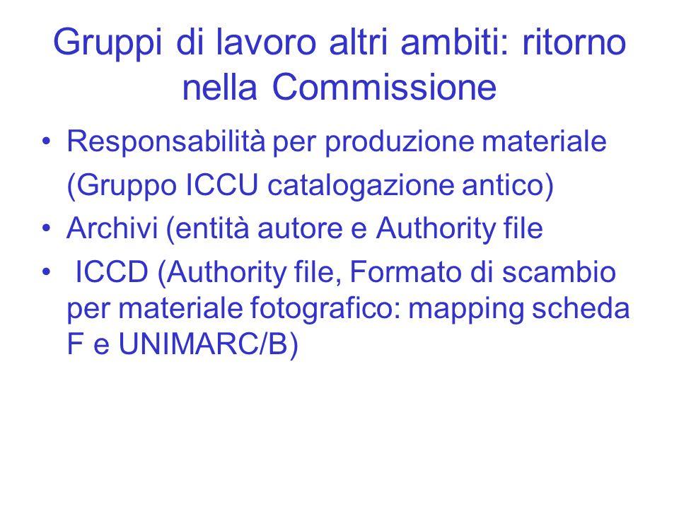 Gruppi di lavoro altri ambiti: ritorno nella Commissione Responsabilità per produzione materiale (Gruppo ICCU catalogazione antico) Archivi (entità au