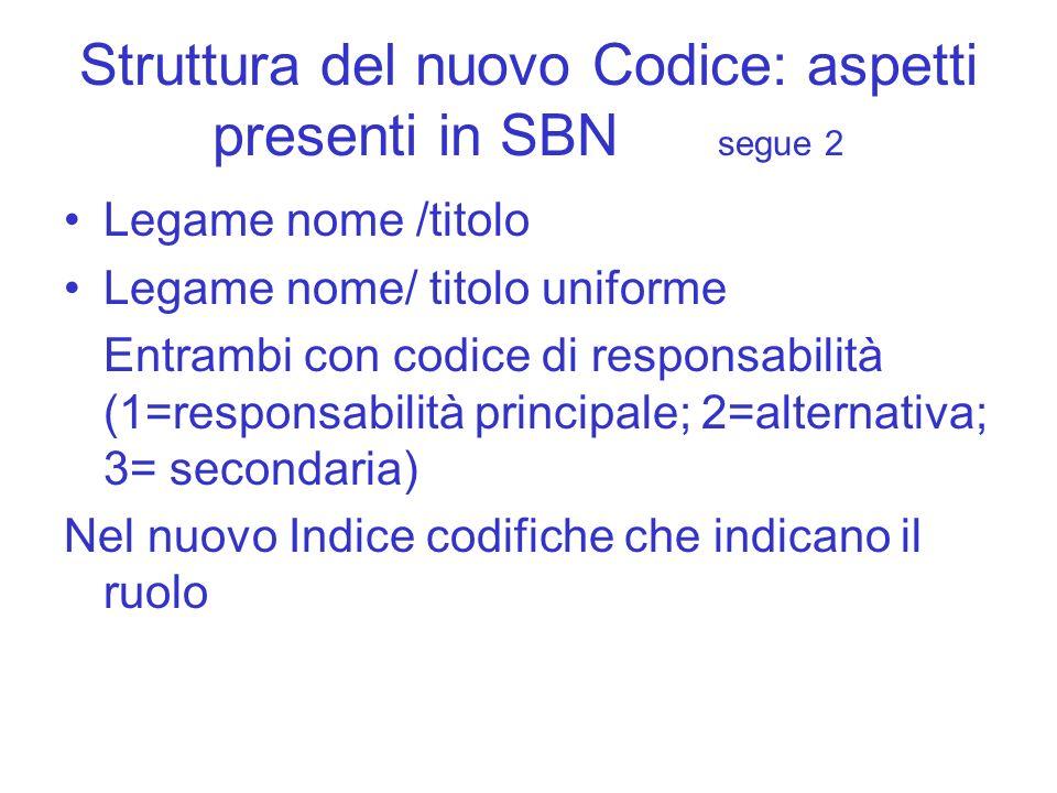 Struttura del nuovo Codice: aspetti presenti in SBN segue 2 Legame nome /titolo Legame nome/ titolo uniforme Entrambi con codice di responsabilità (1=