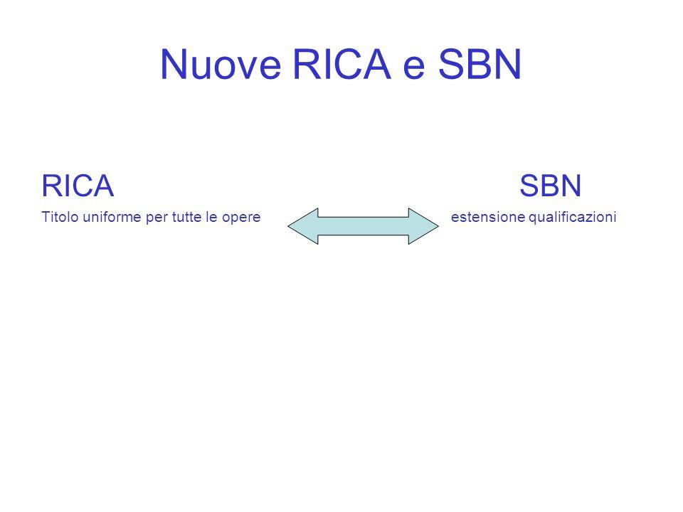 Nuove RICA e SBN RICA SBN Titolo uniforme per tutte le opereestensione qualificazioni