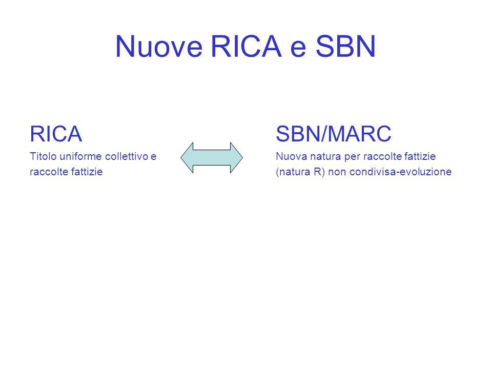 Nuove RICA e SBN RICA SBN/MARC Titolo uniforme collettivo eNuova natura per raccolte fattizie raccolte fattizie(natura R) non condivisa-evoluzione