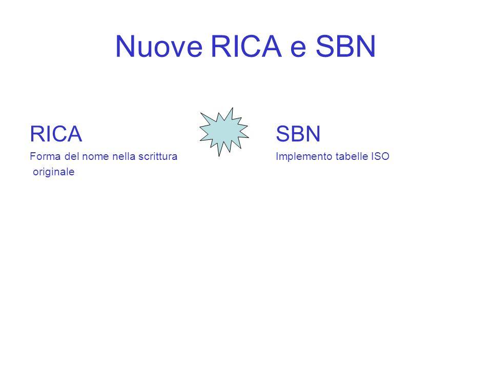 Nuove RICA e SBN RICA SBN Forma del nome nella scritturaImplemento tabelle ISO originale