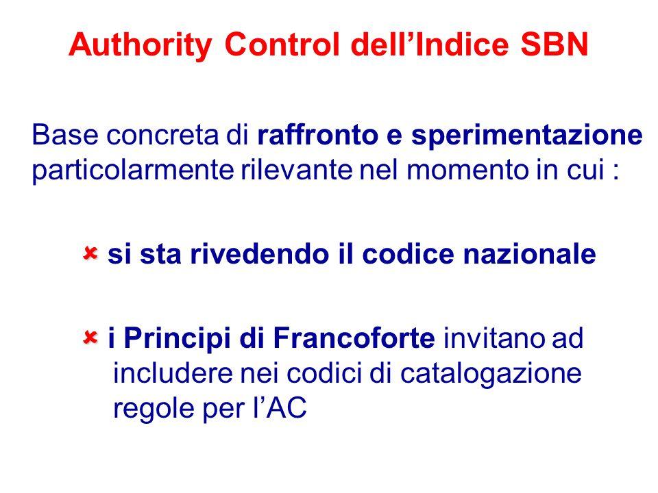 Authority Control dellIndice SBN Base concreta di raffronto e sperimentazione particolarmente rilevante nel momento in cui : si sta rivedendo il codic