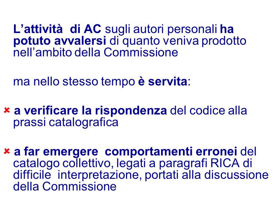 Lattività di AC sugli autori personali ha potuto avvalersi di quanto veniva prodotto nellambito della Commissione ma nello stesso tempo è servita: a v
