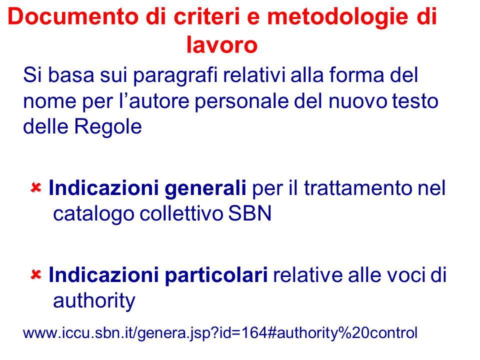 Documento di criteri e metodologie di lavoro Si basa sui paragrafi relativi alla forma del nome per lautore personale del nuovo testo delle Regole Ind