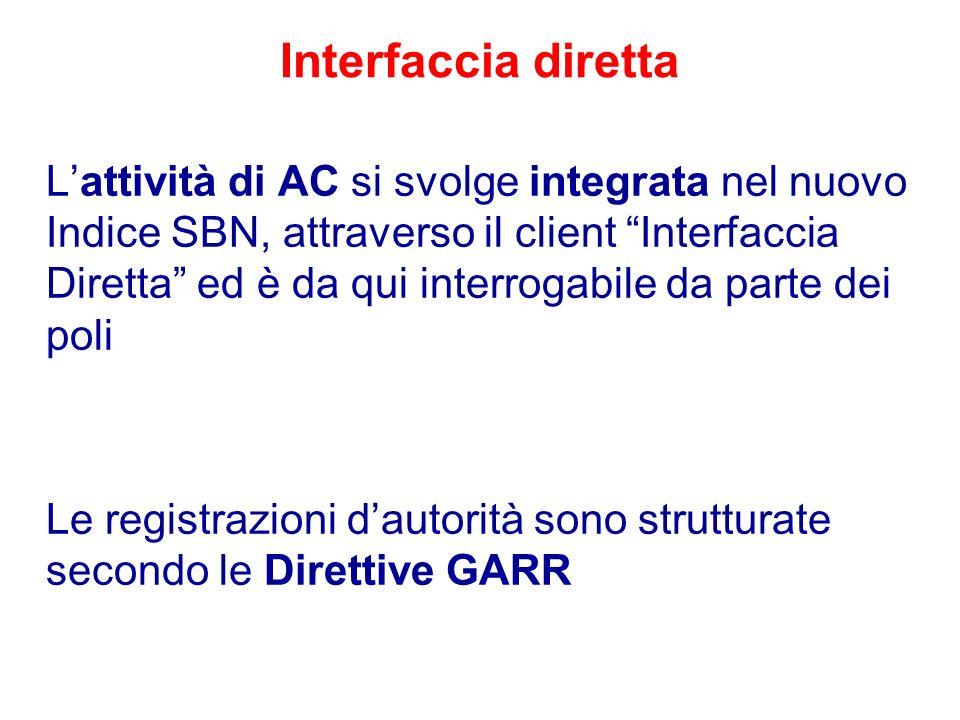 Interfaccia diretta Lattività di AC si svolge integrata nel nuovo Indice SBN, attraverso il client Interfaccia Diretta ed è da qui interrogabile da pa
