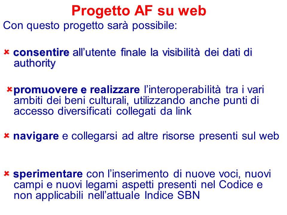 Progetto AF su web Con questo progetto sarà possibile: consentire allutente finale la visibilità dei dati di authority consentire allutente finale la