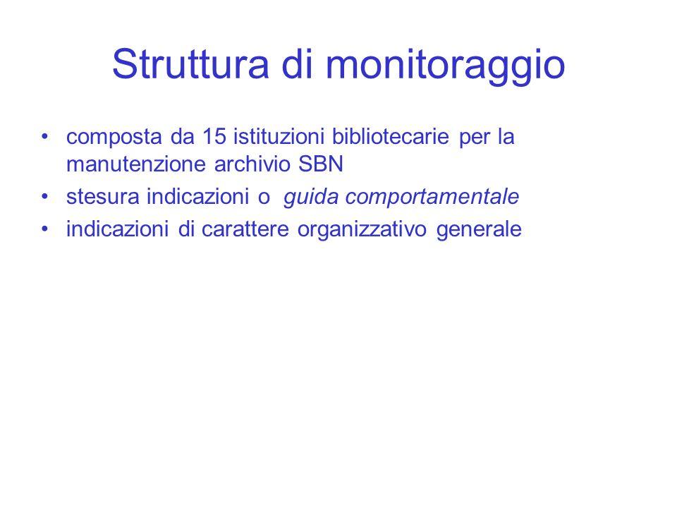 Struttura di monitoraggio composta da 15 istituzioni bibliotecarie per la manutenzione archivio SBN stesura indicazioni o guida comportamentale indica