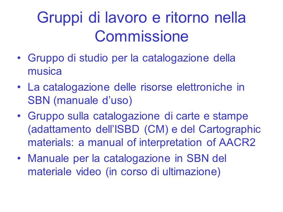 Gruppi di lavoro e ritorno nella Commissione Gruppo di studio per la catalogazione della musica La catalogazione delle risorse elettroniche in SBN (ma