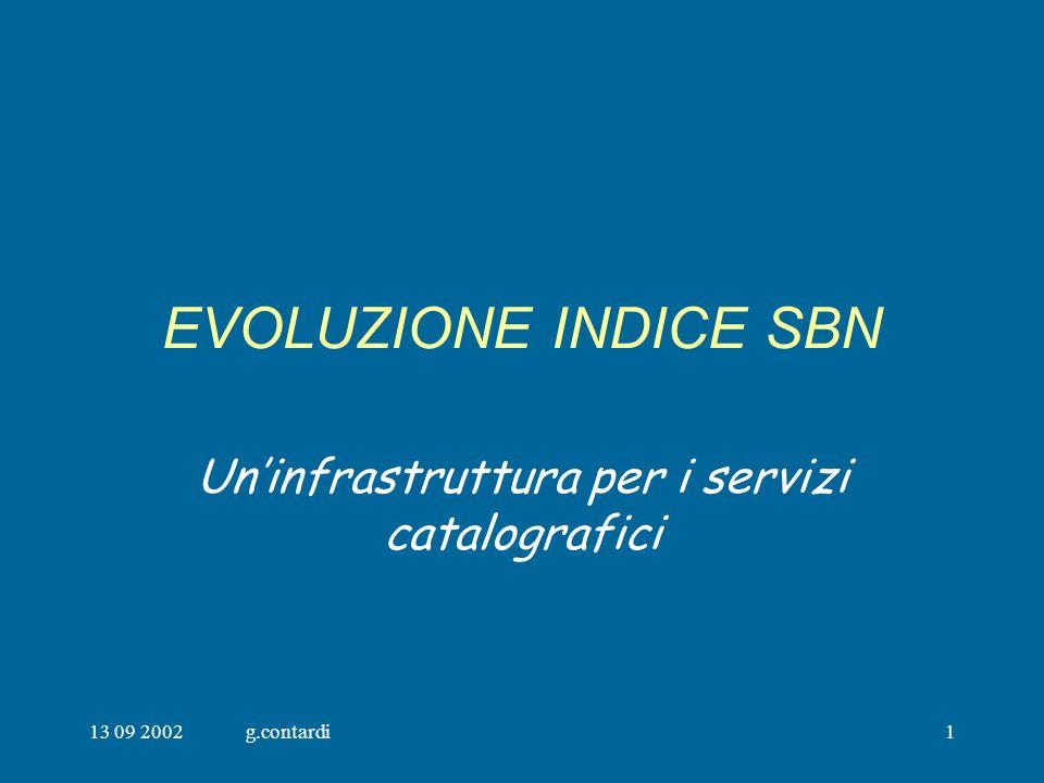 13 09 2002g.contardi1 EVOLUZIONE INDICE SBN Uninfrastruttura per i servizi catalografici
