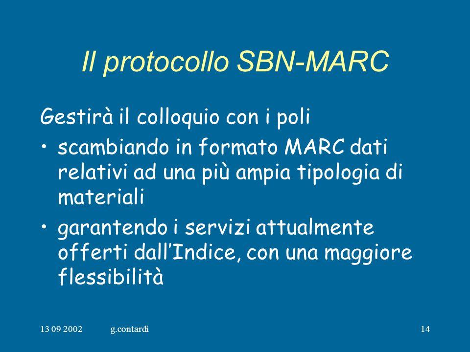 13 09 2002g.contardi14 Il protocollo SBN-MARC Gestirà il colloquio con i poli scambiando in formato MARC dati relativi ad una più ampia tipologia di materiali garantendo i servizi attualmente offerti dallIndice, con una maggiore flessibilità