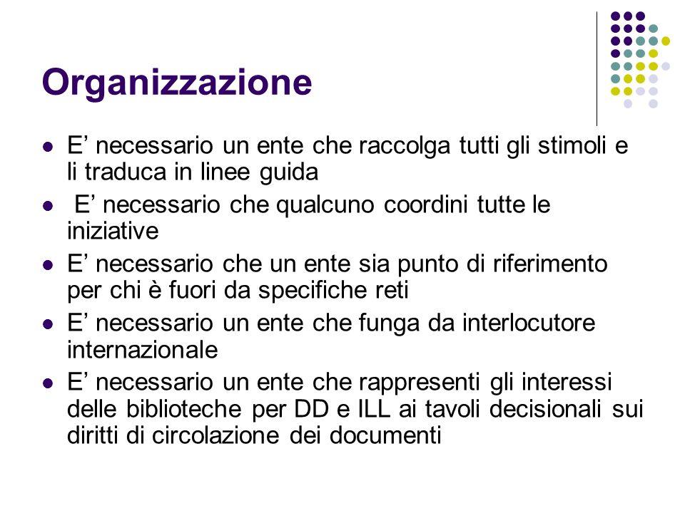 Organizzazione E necessario un ente che raccolga tutti gli stimoli e li traduca in linee guida E necessario che qualcuno coordini tutte le iniziative